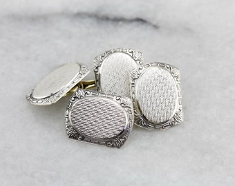 Wedding Day 1930's Etched Cufflinks in White and Green Gold WX3FLL-D