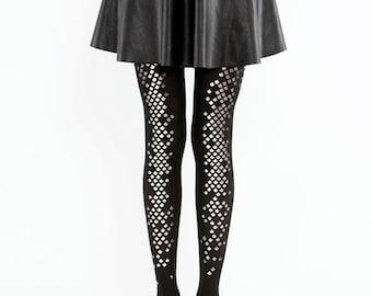 Black mermaid tights / Goth fashion / semi-opaque mermaid scale tights
