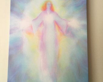 ARCHANGEL HANIEL Ready to Hang Stretched Canvas 16 x 12 inch Guardian Angel Giclee Print by Glenyss Bourne