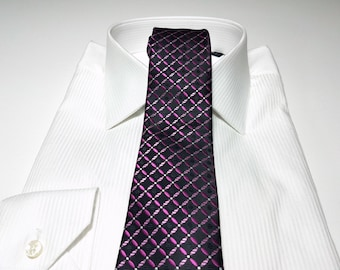 Slim Tie (2.75 inch) in Tickled Pink Begonia Fuchsia White and Black