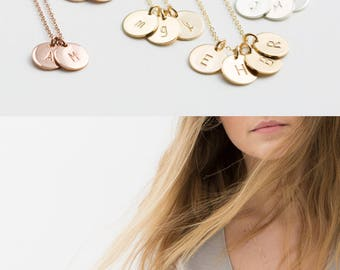 Initial Necklace, Personalized Dainty Disc Necklace • Monogram Necklace, Delicate SMALL DISKS • Silver, Rose Gold Initial Necklace • LN209.2
