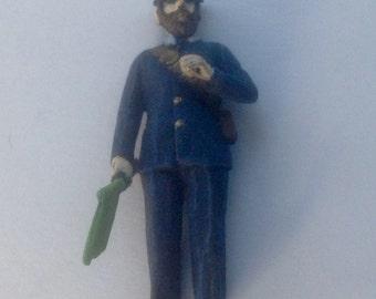 Painted Model Railway Figure, Male Guard,British O Gauge.