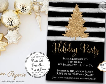 INSTANT DOWNLOAD - Black Stripe Gold Glitter Christmas Tree Invitation - Holiday Party Invitation - Christmas Tree - Watercolor Stripe