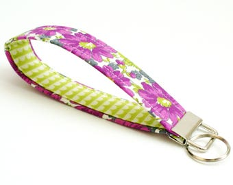 Key Fob - Purple, Gray, Green Floral Fabric - 5 Inch Key Ring - Key Chain - Cute Fob - Wristlet - Mother's Day Gift - Short Lanyard Strap
