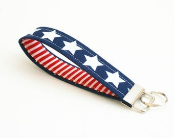 Key Fob - Stars And Stripes - Strap - Key Wristlet - Key Ring - Mens Key Chain - Fabric Keychain - Key Strap - Patriotic Gift - 4th of July