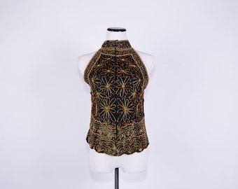 80's Gold Beaded Silk Halter Blouse