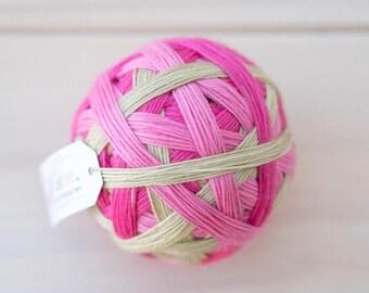 STRAWBERRY SHORTCAKE - vibrant hand dyed self striping sock yarn