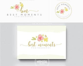 Simple Light Design - Premade Photography Logo and Watermark, Classic Elegant Script Font GOLD GLITTER butterfly children Calligraphy Logo