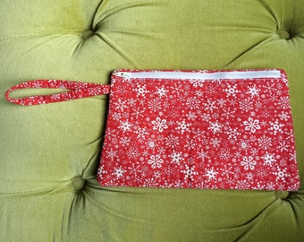 Snowflake Makeup Bag Handmade Holiday Makeup Bag Red & White Christmas Purse Quilted Cotton Wristlet Zip Top Clutch Winter Snow Travel Size