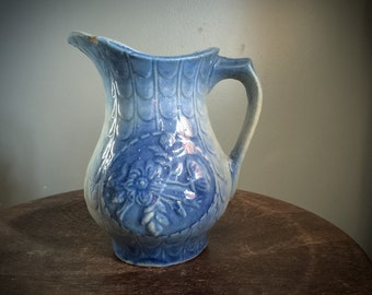 Antique Relief Stoneware 1800s Blue Floral Pottery Water Pitcher Ceramic Vintage Handmade Rustic Shabby Chic Sculptural Salt Glazed Clay Jug