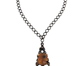 Vintage Copper Necklace, Copper Egypt Necklace, Copper Rhinestone Necklace, Copper Pharoh Necklace, Large Copper Pendant Necklace