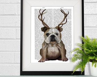 Bulldog gift - English Bulldog with Antlers - funny home decor funny fabfunky print wall art uk seller only uk shop dog art print
