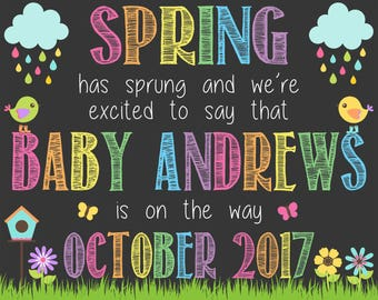 Spring Pregnancy Announcement Chalkboard Poster | Spring Has Sprung | Pregnancy Reveal | Easter April May | *DIGITAL FILE*