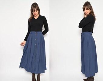 Vintage 90's Button Blue Maxi Skirt / High Waist Pleated Skirt / Blue Pleated Maxi Skirt - Size Large