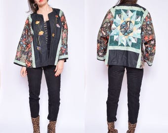 Vintage 90's Quilted Blazer / Sea Horse Print Jacket / Sea World Print Blazer - Size Large