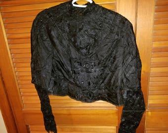 Vintage Ladies Black Beaded Shirt
