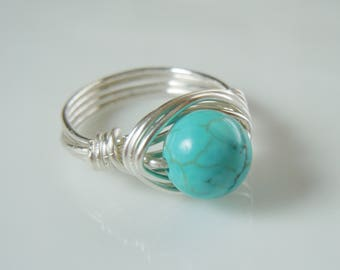 Genuine Polished Turquoise and Silver Wire Wrapped Ring
