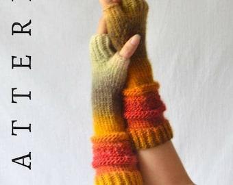 Arm Warmer Knitting Pattern, PDF Instant Download Fingerless Gloves, Beginner Knitting pattern, Textured Knitting, Hand Warmers