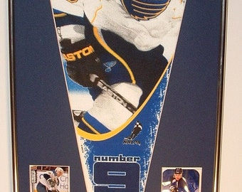 St Louis Blues Paul Kariya Pennant & Cards...Custom Framed!