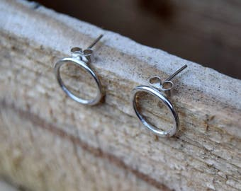 Sterling silver hoop earrings, circle stud earrings, silver circle earrings, boho earrings, rustic