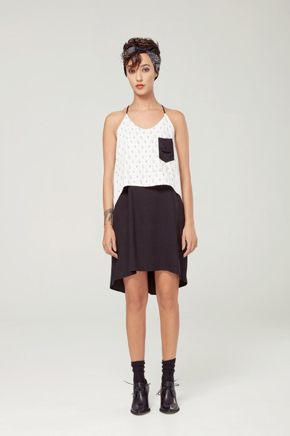 FLORE - fluid dress with adjustables shoulders for women - white and black with triangles silkscreen