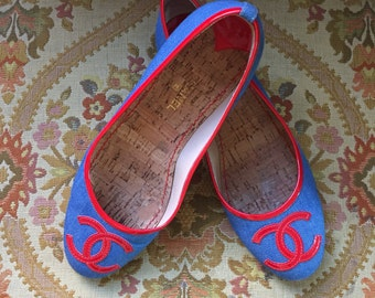 Chanel denim Ballet flats sz 39 1/2