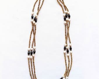 Black, white &  gold African necklace