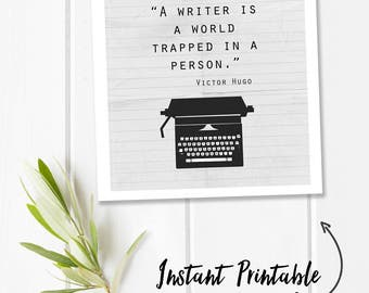 Victor Hugo, gifts for writers, vintage typewriter printable quote print, writer quote, digital download quote, writer gift, square wall art