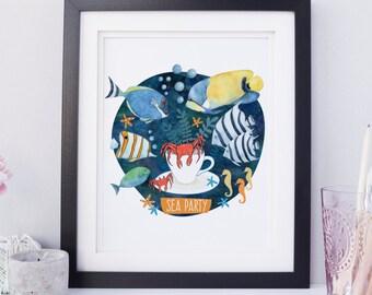Tropical Fish Print, Children's Room Wall Art, Children's Room Decor, Baby Room Decor, Sea Print, Customizable Print, Animal Charm