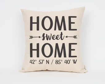 """Home Sweet Home Pillow 16"""", Custom Coordinates, Housewarming Gift, Realtor Gift, Home Pillow, Custom Pillow, Personalized Pillow"""