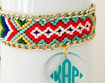 Monogrammed Bracelet, Friendship Bracelet with Monogrammed Charm