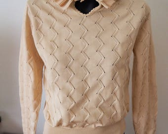 70's beige peter pan collar knit top S