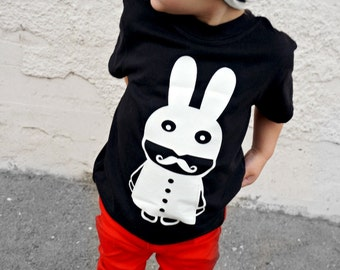HIPSTER BABY CLOTHES - mustache bunny tee