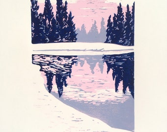 Snow Landscape Linocut