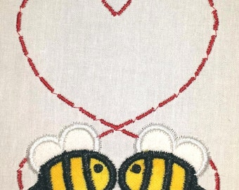 Unisex bee heart design body suit  shirt  bib or burp cloth