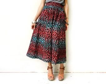 Leopard Print Skirt, African Maxi Skirt, Long Skirt, Unique African Skirt, Leopard Print, Unique Clothing, Leopard Skirt, XS S M M+ L