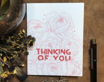 Thinking of You Floral  Greeting Card   Floral Stationery   Blank Greeting Card   Vintage Inspired