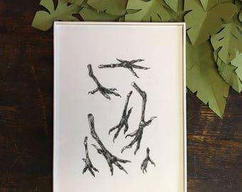 Birds Original Ink Illustration | Vintage Inspired Nature Illustration