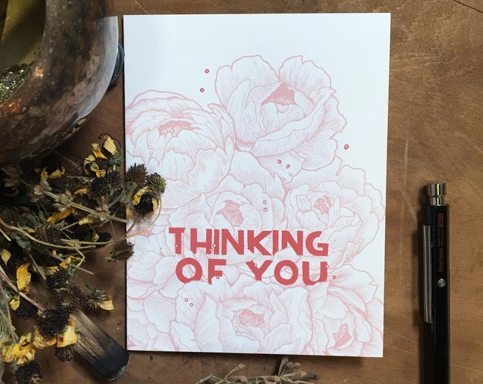 Thinking of You Floral  Greeting Card | Floral Stationery | Blank Greeting Card | Vintage Inspired