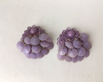 Vintage lilac dangle clip earrings