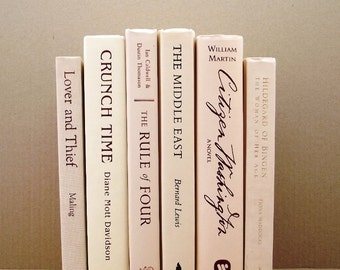Cream ivory book collection, decorative books, cream colored books, instant library, book set for wedding decor, book decor, neutral books