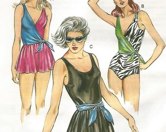 1429 Kwik Sew Sewing Pattern Swimsuit Plus Size 16 18 20 22 UNCUT Vintage 1980s Optional Skirt