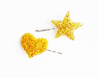 Set of 2 Gold Glitter Heart and Star Bobby Hair Pins Accessories - Cute Hair Accessories, Girl Hair Pin, Bobby Pins Set, Valentines