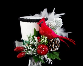 White, Black, Red, and Green Cardinal Holiday Forest Large  Mini Top Hat Fascinator, Alice in Wonderland Mad Hatter Tea Party, Derby Hat