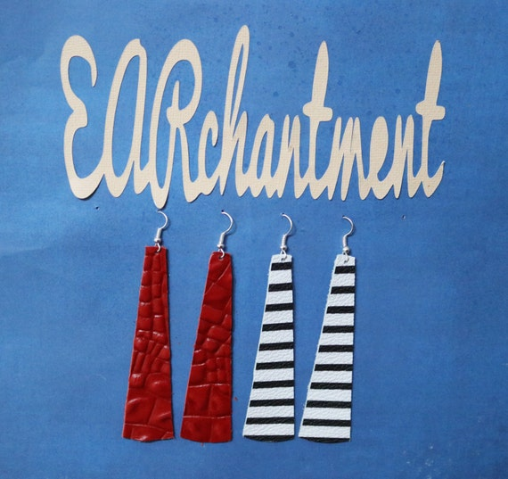Small Leather strip - Dangle Earring - Drop earring - Variety Sample Pack - 2 Pair leather strip earrings _ SAILING