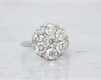 Mid Century Cluster Ring | Diamond Engagement Ring | 14k White Gold Ring | Diamond Cluster Ring | Unique Engagement Ring | Size 6.25