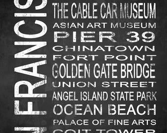 San Francisco 1 Subway Sign Fine Art Canvas Gallery Wrap   Modern Chalkboard Typography