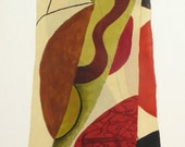 Abstract Art Hand Painted Silk Scarf