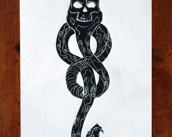 Harry Potter Death Eater Dark Mark Lino Print