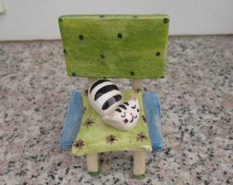 Cat Sculpture,Tabbie Ceramic Cat Sleeping on Chair,Ceramic Miniature,Blue,Green,Tabby cat,Cat Lady Gift,Kitten,Cat Collectible,Cute Cat